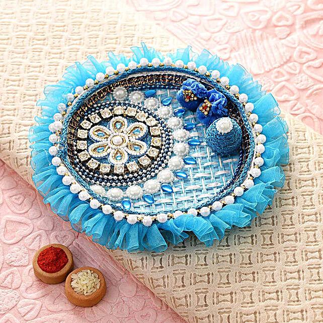 Blue Floral Bhaidooj Pooja Thali