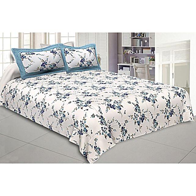 Blue Floral Motif Print Double Bed Sheet Set
