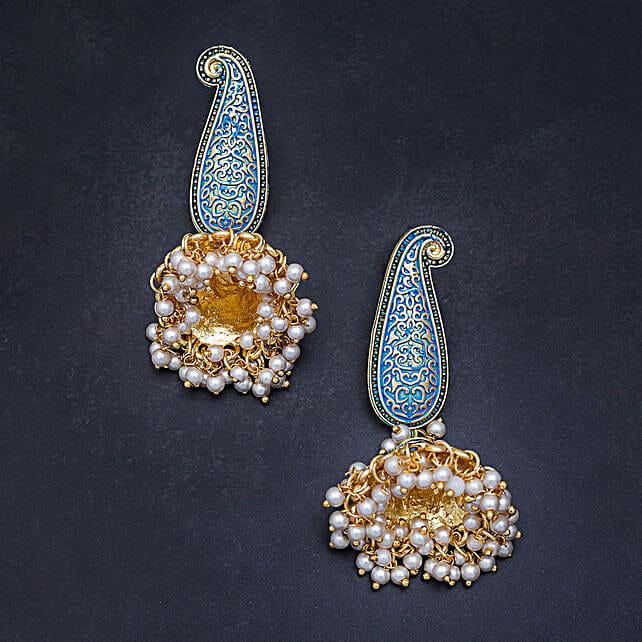 golden jhumka earrings online:Earrings For Women