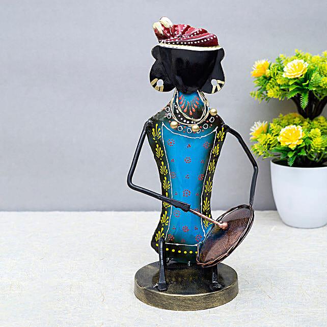Blue Metal Tambourine Musician Figurine