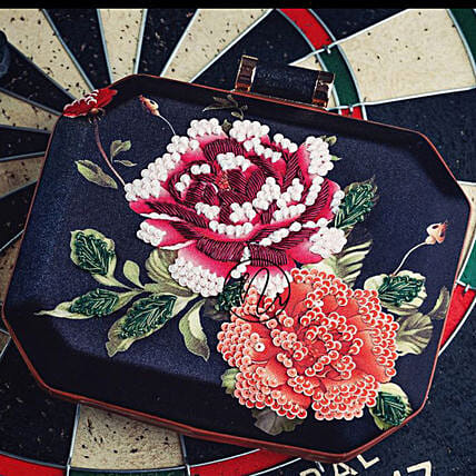Floral Embroidery Blue Clutch Online