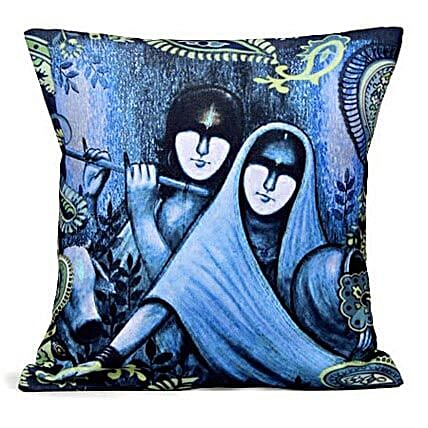 Blue Radha Krishan-12X12 inches cushion is available