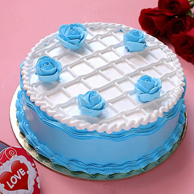 Blue Roses Chocolate Cake