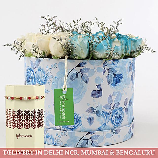 Flower Box and Rakhi for Raksha Bandhan:Rakhi with Flowers