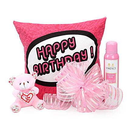 Pretty Pink Hamper-birthday cushion,small pink ,150 ml Yardley body spray:Send Soft toys to Delhi