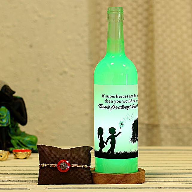 online Bottle Lamp & Rakhi Combo