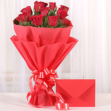 Bouquet N Greeting Card - Bunch of 10 Red roses and greeting card gifts.:Send Flowers to Gandhidham