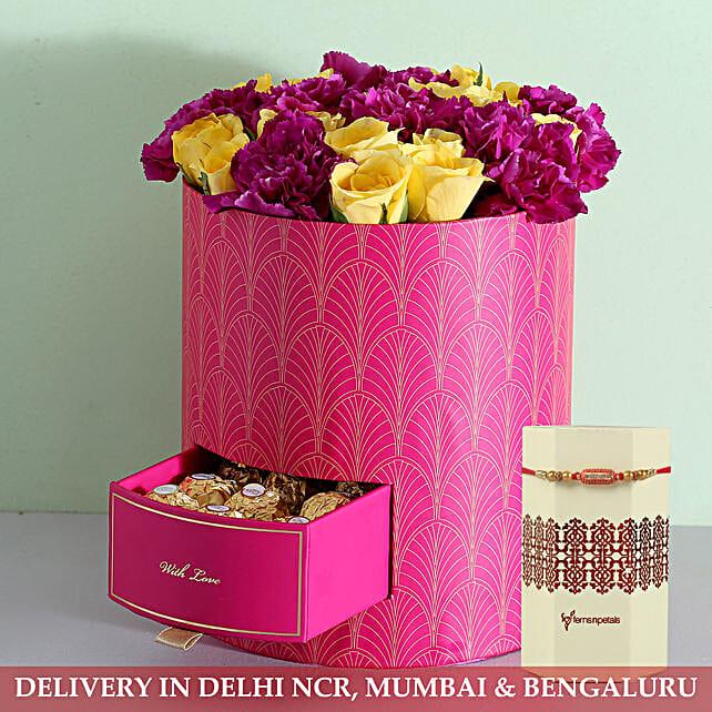 Online Flower Bouquet And Rakhi:Rakhi with Flowers