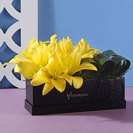 yellow flower box arrangement online:Flowers for Janmashtami