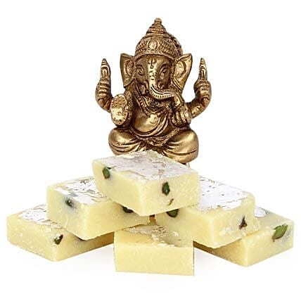 Brass Ganesha With Pista Burfi-3 inches ganesha,yummy Pista Burfi 250 grams