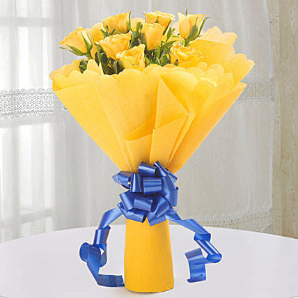 Bright 10 Yellow Roses Bouquet