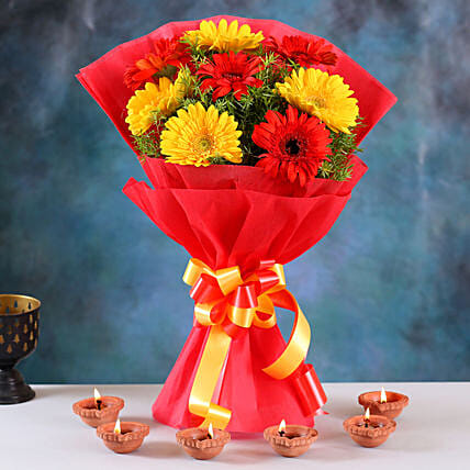 Bright Gerberas Bouquet & Clay Diyas