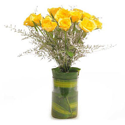 Bright Magic - Bunch of 12 Yellow Roses in a glass Vase.