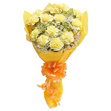 Bright N Sunny - Bunch of 15 Yellow Carnations in a paper packing.