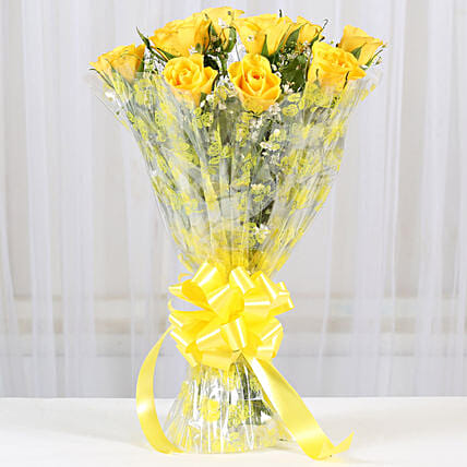 10 Bright Yellow Roses Bouquet:Send Flowers to Nainital