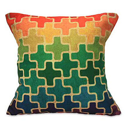 Brighten Up With Cushion-12x12 inches multicolored design cushion