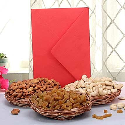 Dry fruits with a greeting card