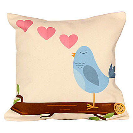 Bubbly Blue Cushion-12x12 inches blue bird printed:Birthday Gift Ideas for Husband