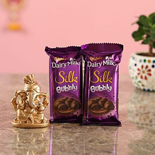 Bubbly Chocolate Golden Ganesha Idol