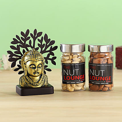 Buddha Taj Idol & Nutraj Combo:Diwali Gifts For Mom And Dad