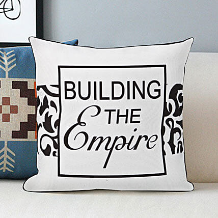 Builder of The Empire-White and Black Cushion 12x12 inches