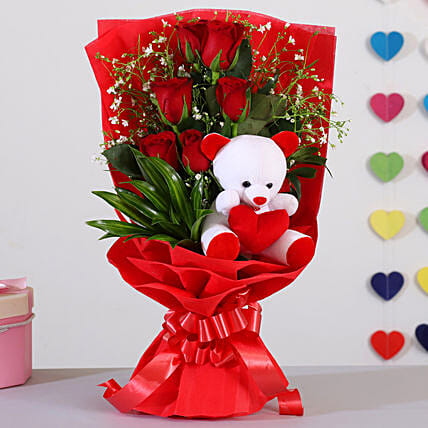 Bunch Of 6 Red Roses Teddy Bear Combo:Send Gifts for Hug Day