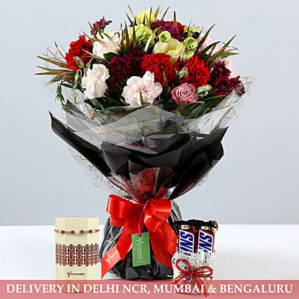Online Mixed Bouquet With Rakhi