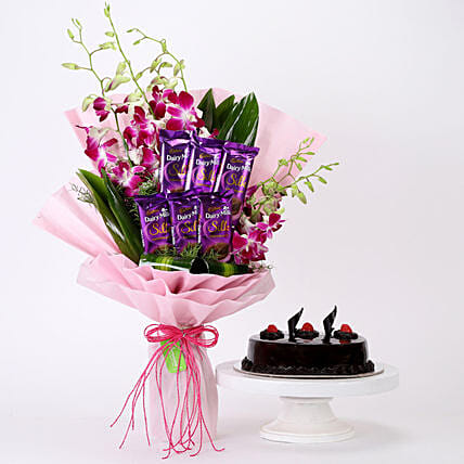 Online Bunch Of Orchids & Truffle Cake Combo