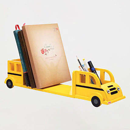 Online Yellow Bus Bookend Cum Pencil Stand