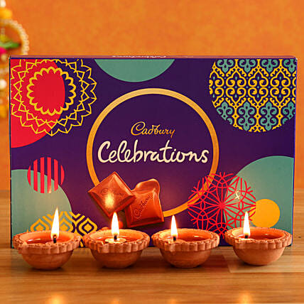 Cadbury Celebrations & 4 Diyas Combo:Diwali All Gifts