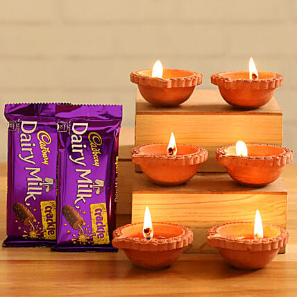 Cadbury Dairy Milk Crackle Chocolates With Diyas:Send Cadbury Chocolates