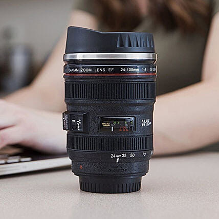 Camera Lens Shaped Coffee Mug With A Lid