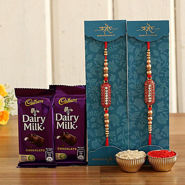 online capsule rakhi set with milk chocolates