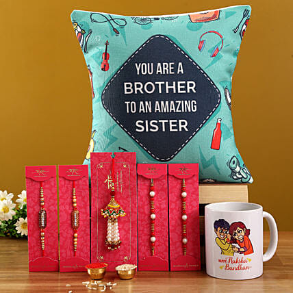 Capsule rakhis with mugs cushion combo online