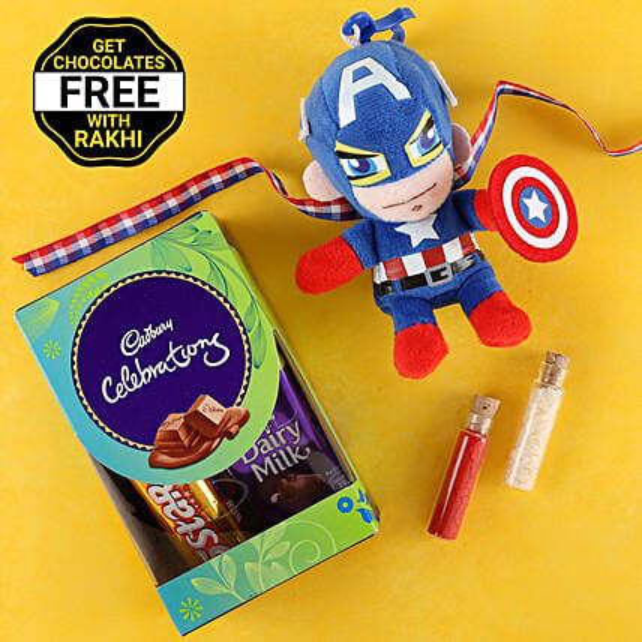 Captain America Rakhi With Free Cadbury Chocolates