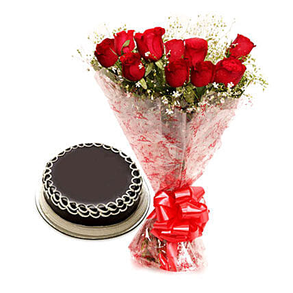Red roses with cake:Send Flowers to Guna