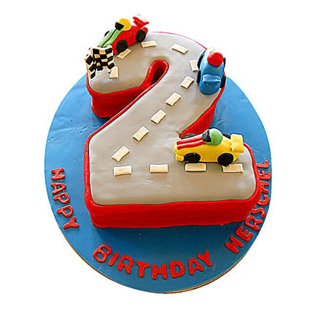 Car Race Birthday Cake 2kg Eggless Black Forest