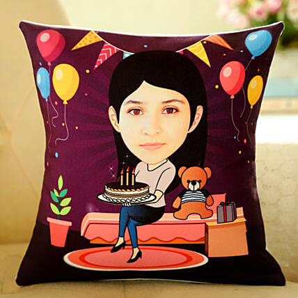 Customised Caricature Printed Cushion Online:Personalised Cushions for Bhai Dooj