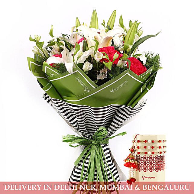 Rakhi with Mixed Flower Bouquet for Family:Rakhi Gifts For Bhaiya Bhabhi