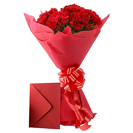 Carnations N Greeting Card - Bunch of 12 Red Carnations & Greeting card.:Send Flowers & Cards for Karwa Chauth