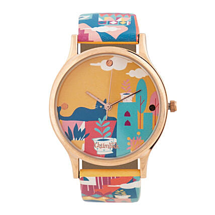Cat Village Wrist Watch With Printed Strap:Watches for Her