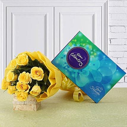 Celebration Time - Bunch of 10 yellow roses and 119 grams of cadbury celebrations.