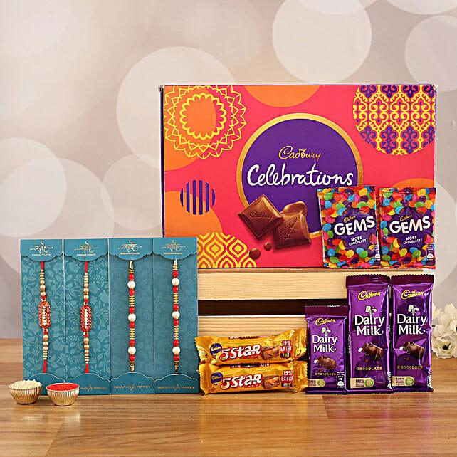 set of designer rakhi with sweet chocolates online