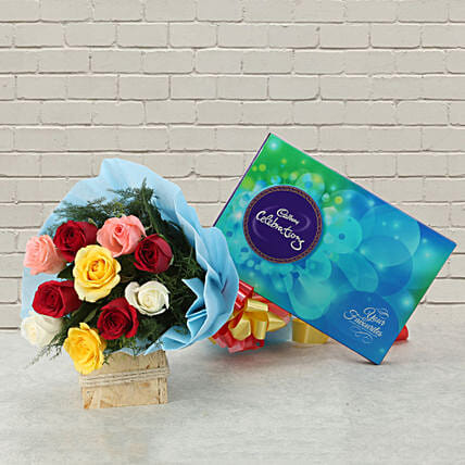 Celebrations with Roses - Bunch of 10 mix colour roses and 119 grams of cadbury celebrations.:Tamil New Year Gifts