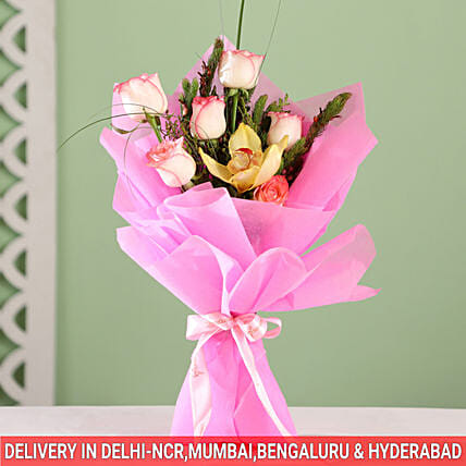 online pink roses in pink wrap paper online