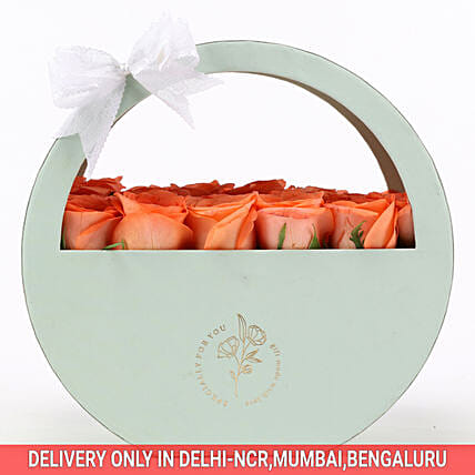 Order Online Cheerful Orange Rose Box