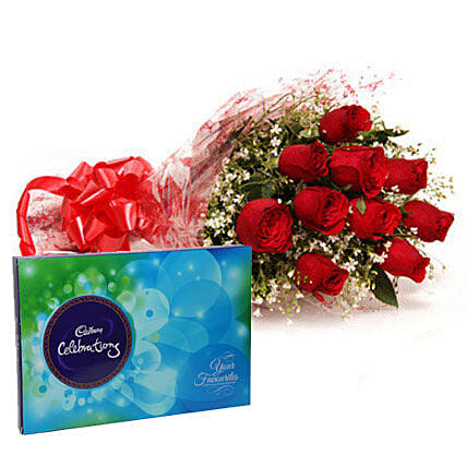 Bouquet of red roses and chocolates:Flower Delivery in Bharuch