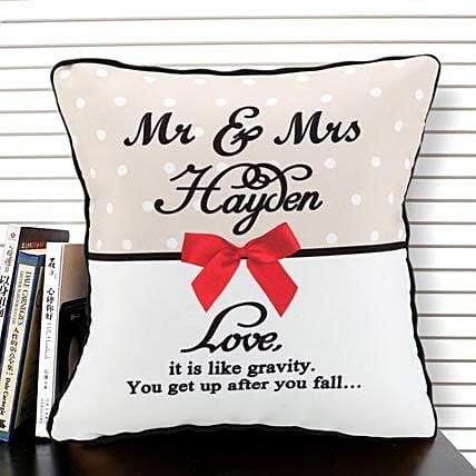 Cherishment of Love-White,Cream,Red and Black Color Personalized Cushion 12x12