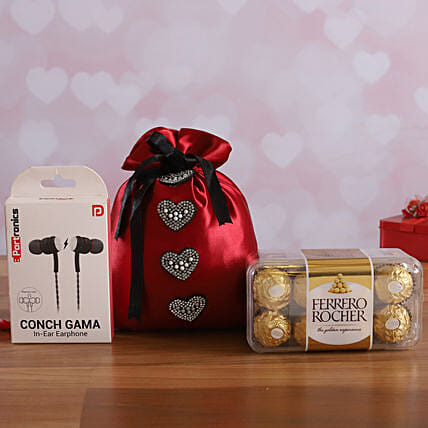 Cherry Red Potli With Earphone & Ferrero Rocher Box  Online