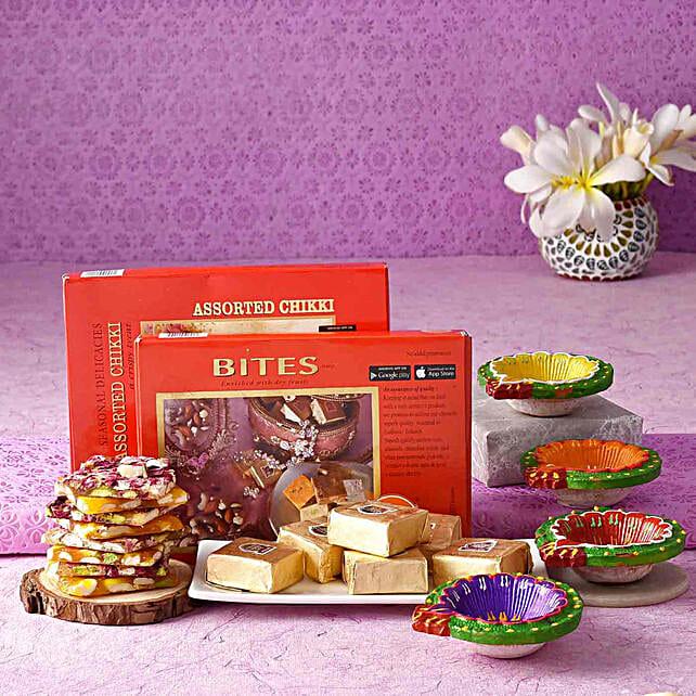 Chhappan Bhog Assorted Chikki & Bites With Diyas